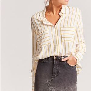 Yellow striped button up blouse